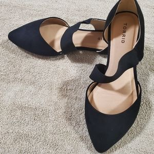 Torrid Black faux Suede Flats with strap..